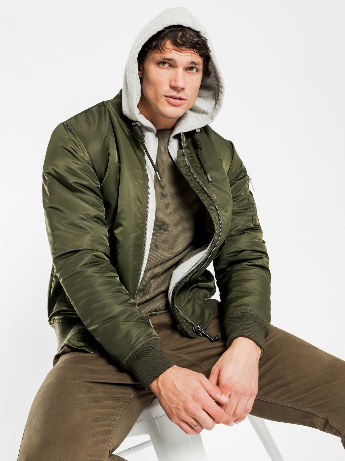 Dante Hooded Bomber in Olive