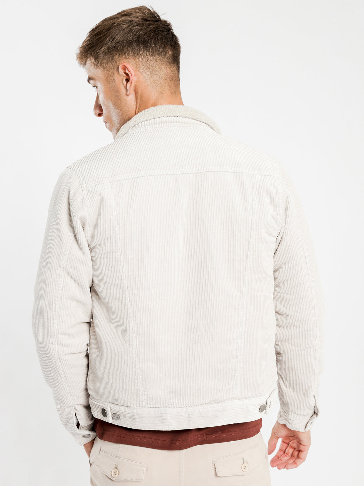 Jaxon Sherpa Trucker Jacket in Ecru