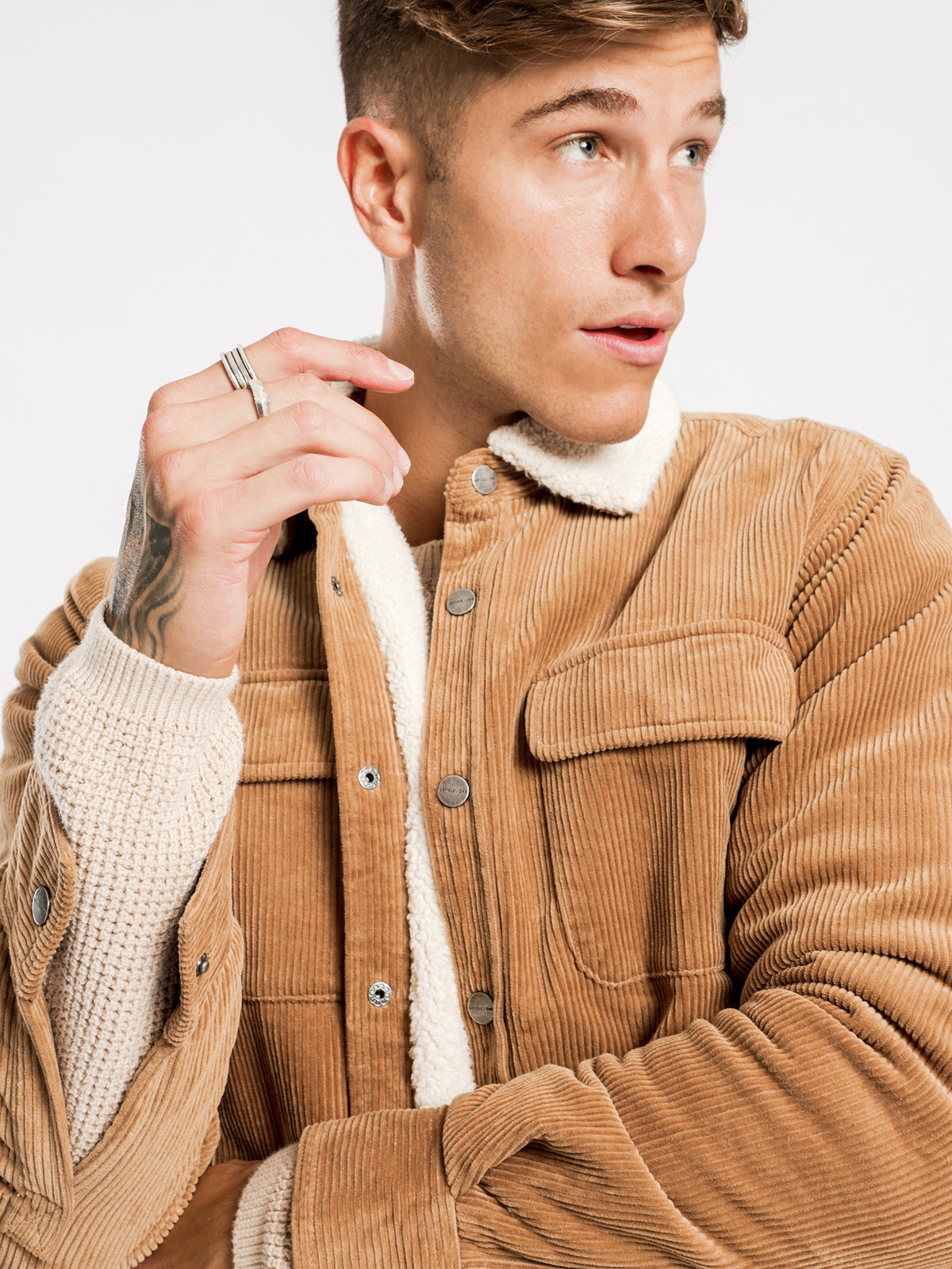 Kai Cord Sherpa Jacket in Tan