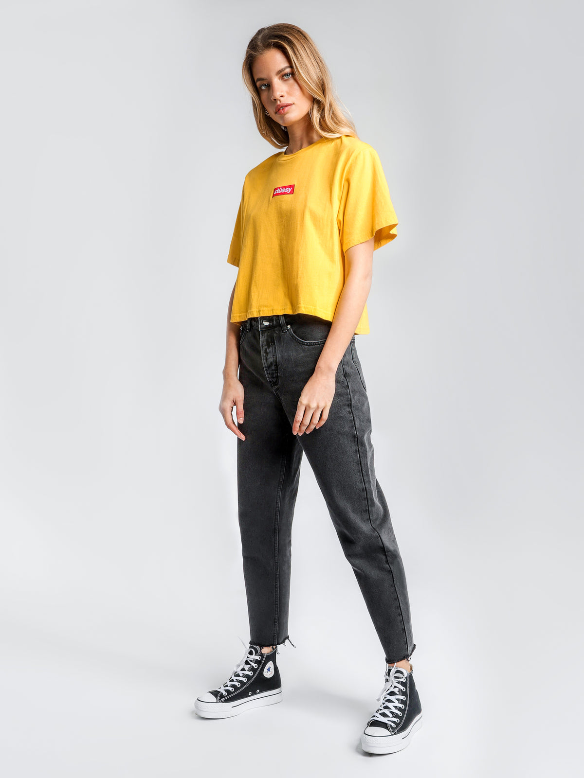 High-Waisted Mom Jeans in Aged Black Denim
