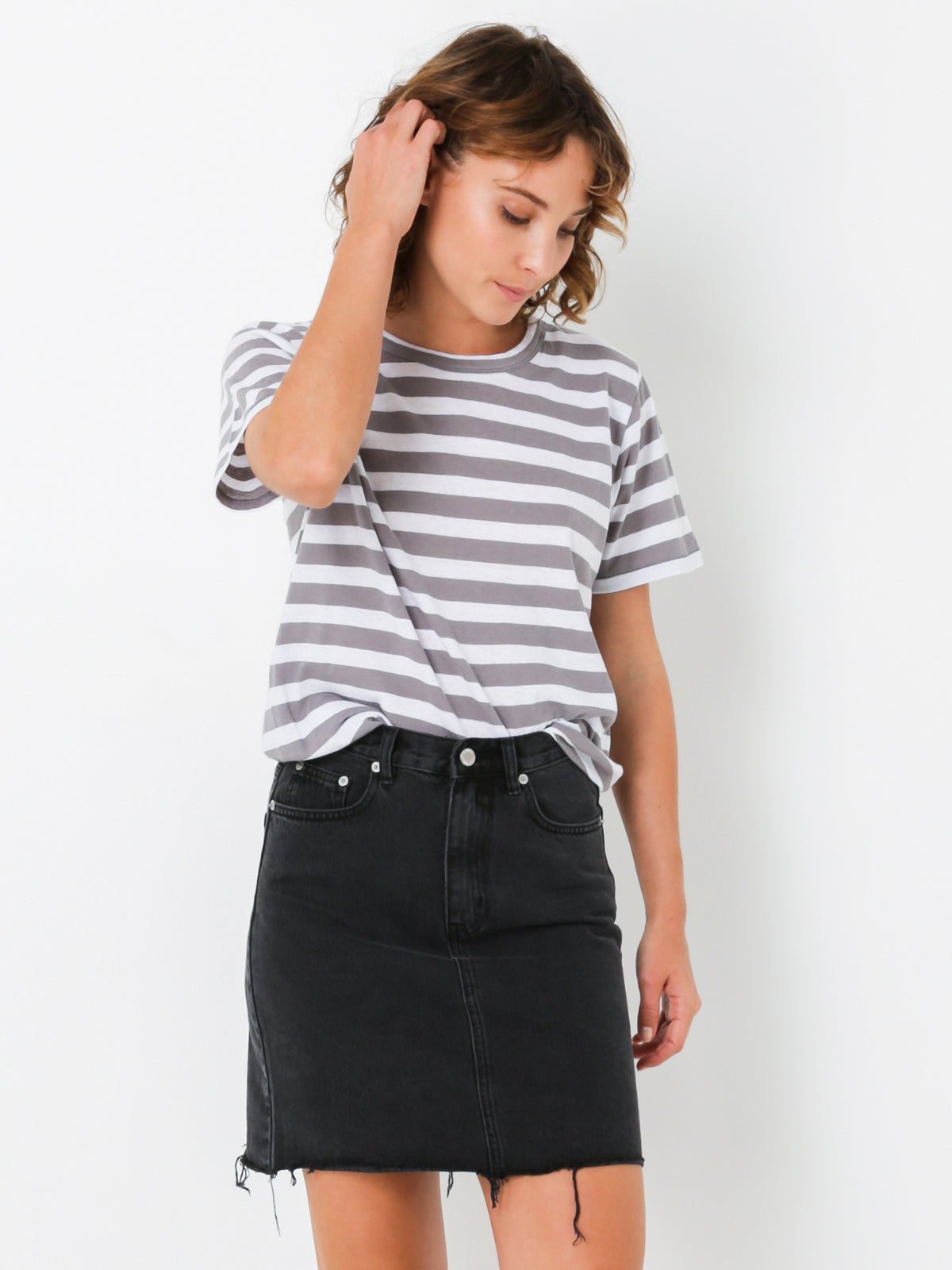 Everyday T-Shirt in Steel & White Stripe
