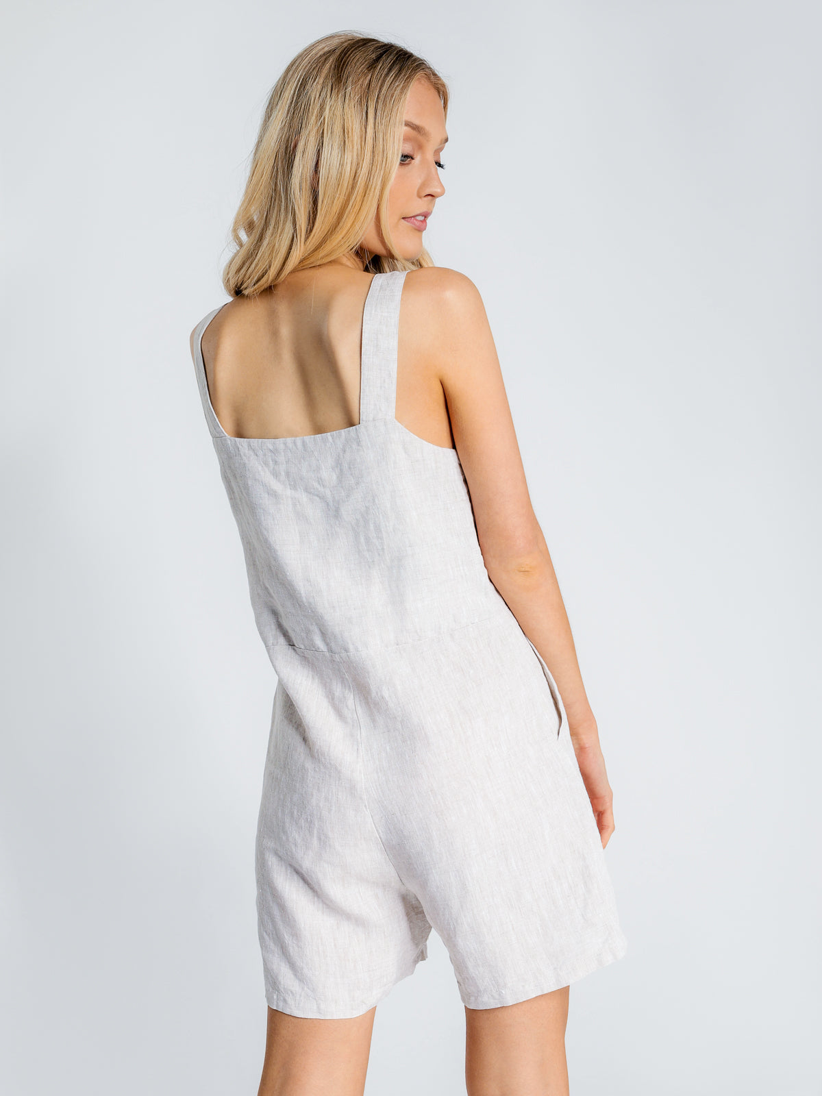 Wide Strap Linen Playsuit in Oat Marle