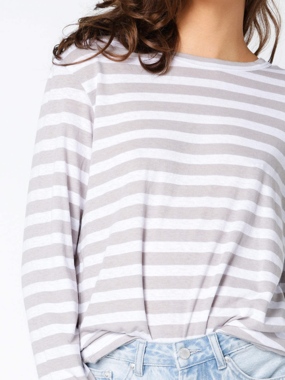 Bay Long Sleeve T-Shirt in White and Grey Stripe