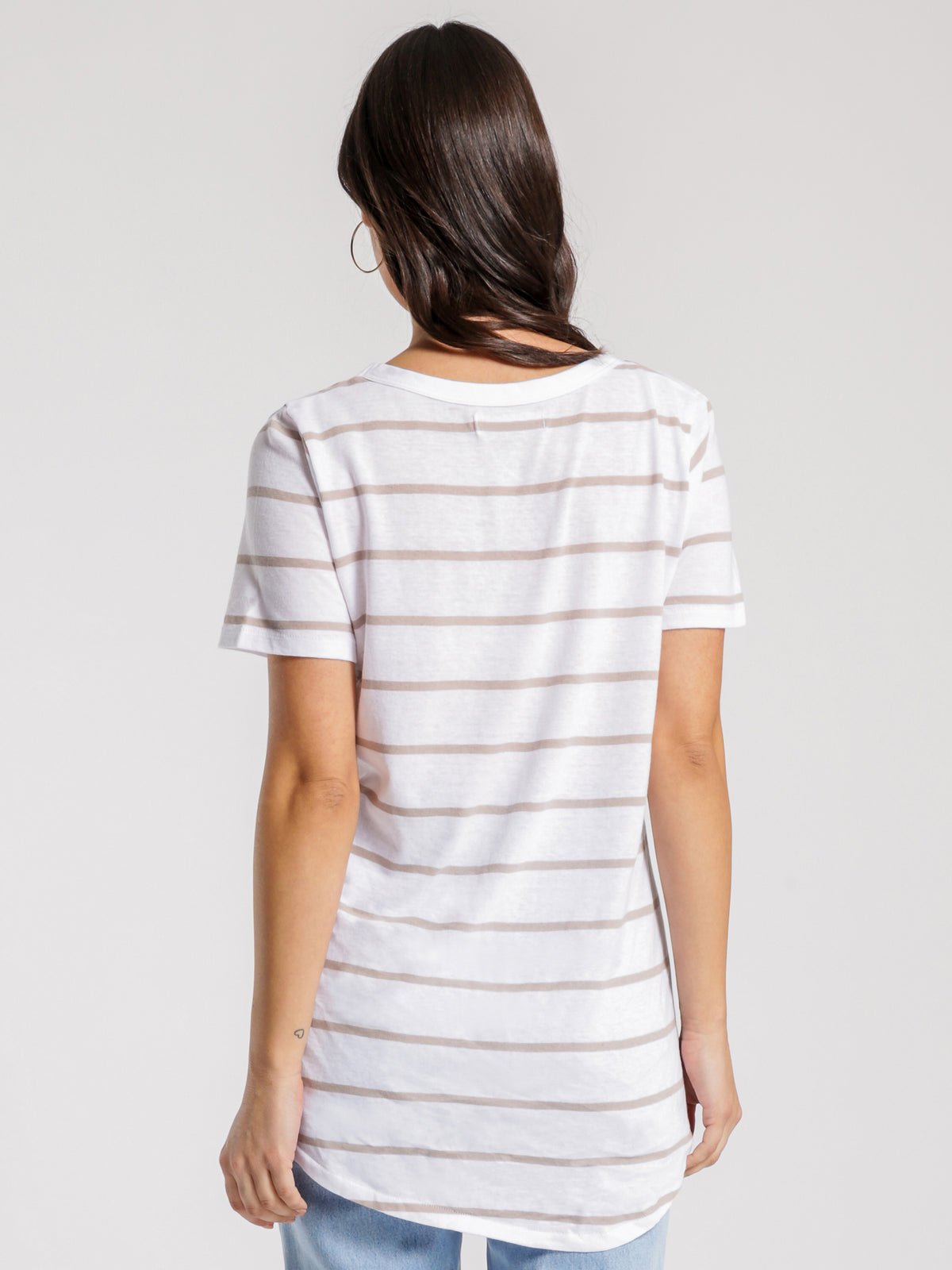 Soft V-Neck T-Shirt in Taupe Stripe