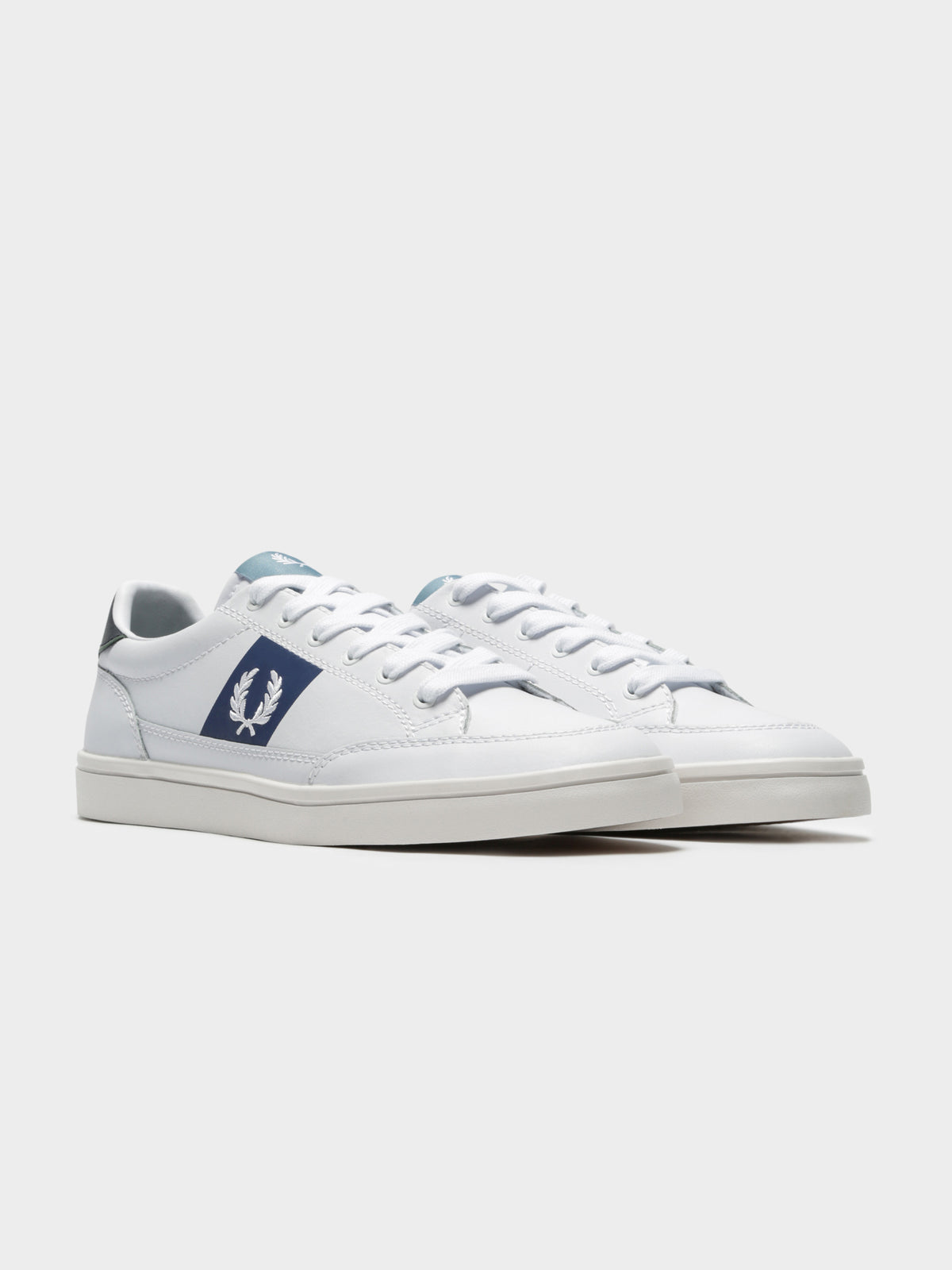 Deuce Leather Sneakers in White Blue & Green