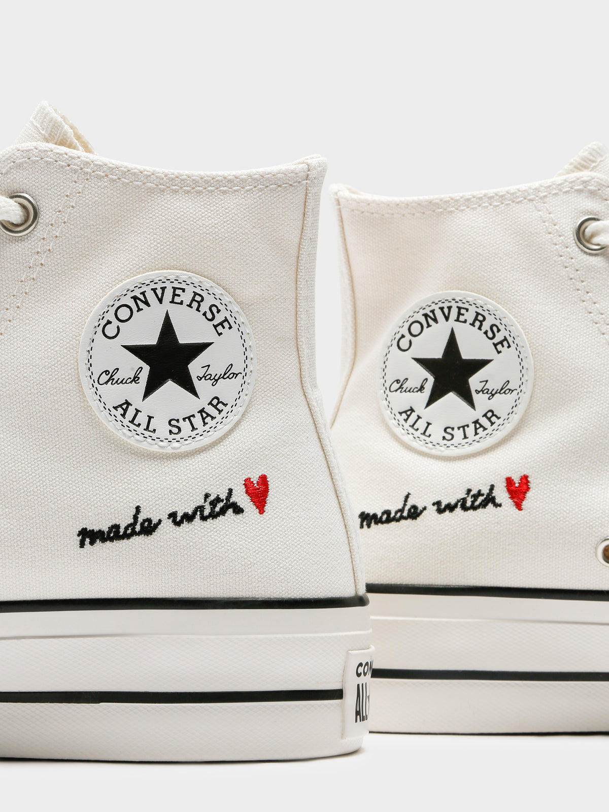Womens Made With Love Platform Chuck Taylor All Star High Top Sneakers in Vintage White