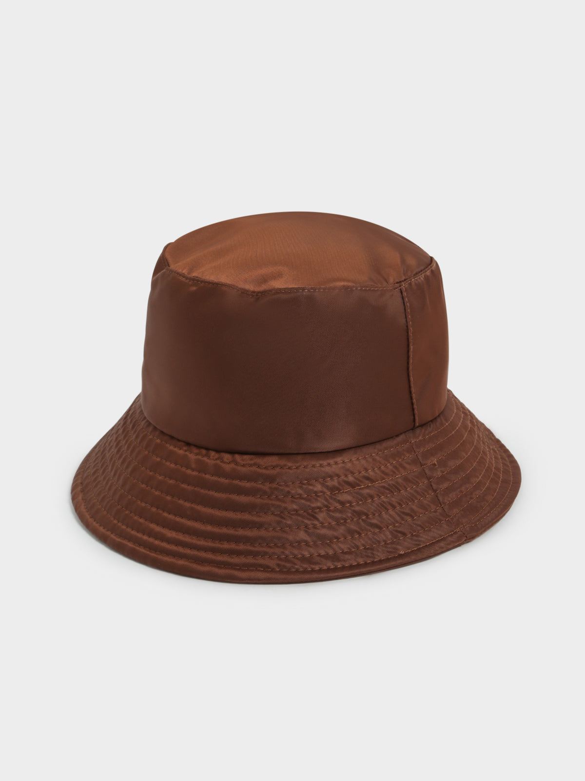 Nylon Bucket Hat in Brown