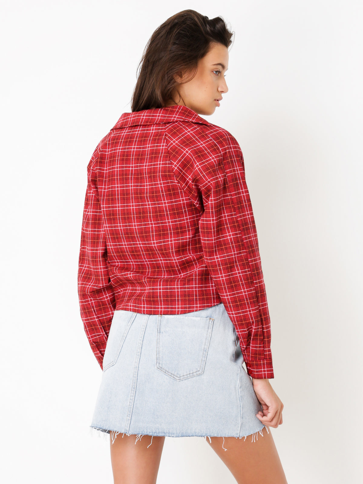Mississippi Tie Front Top in Red Check