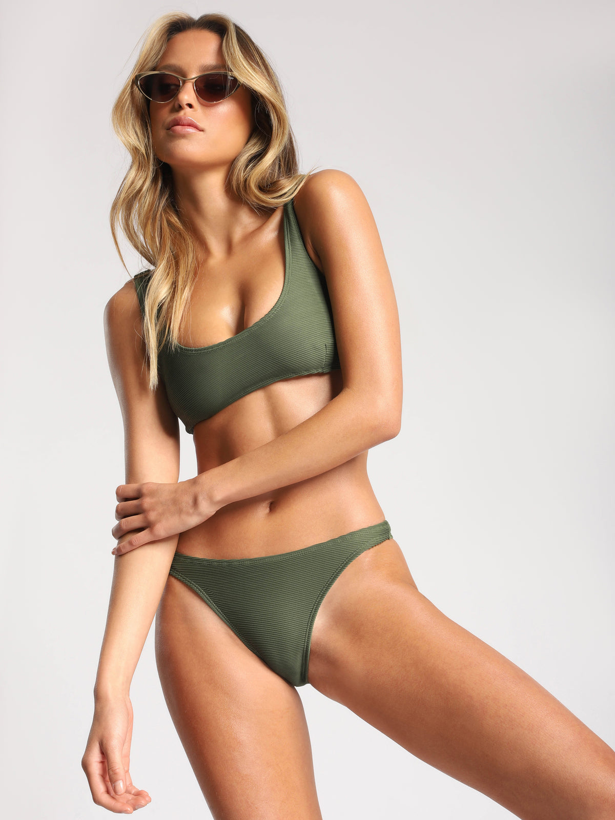 Rib High Cut Brief in Khaki