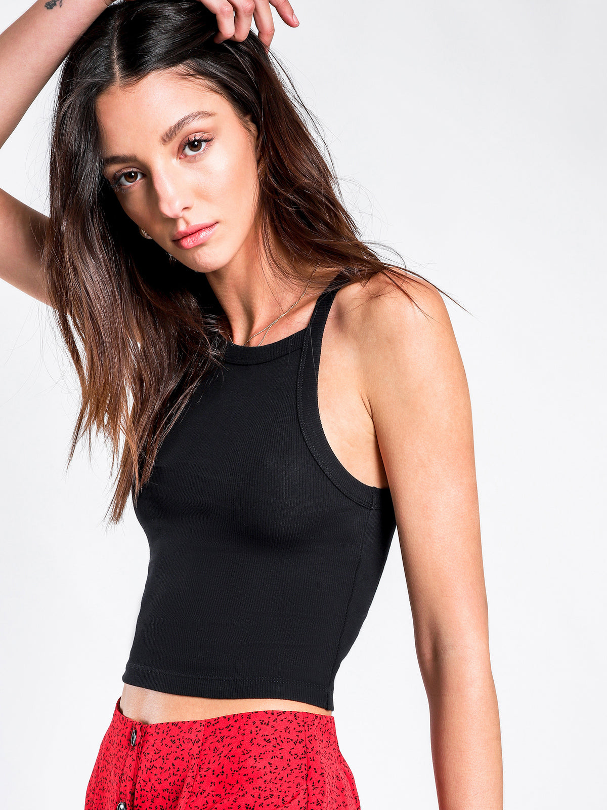 Dynamite High Neck Tank Top in Black