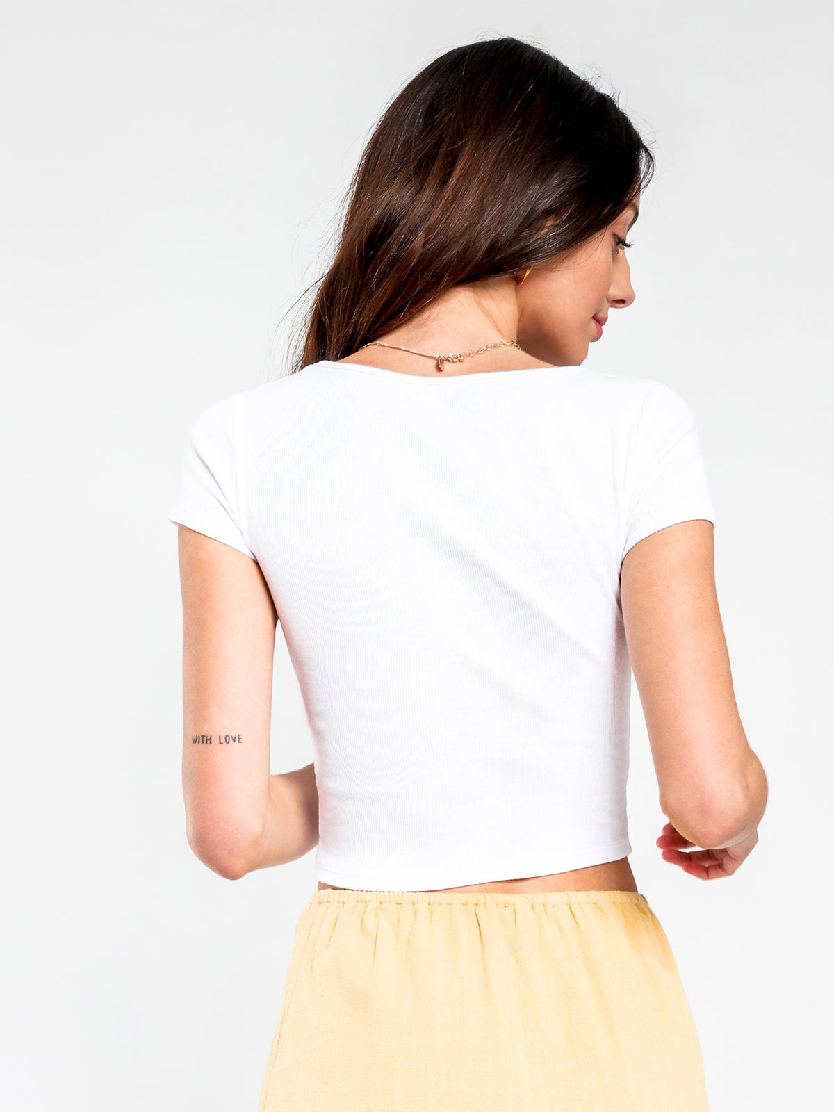 Crush Cut Out T-Shirt in White