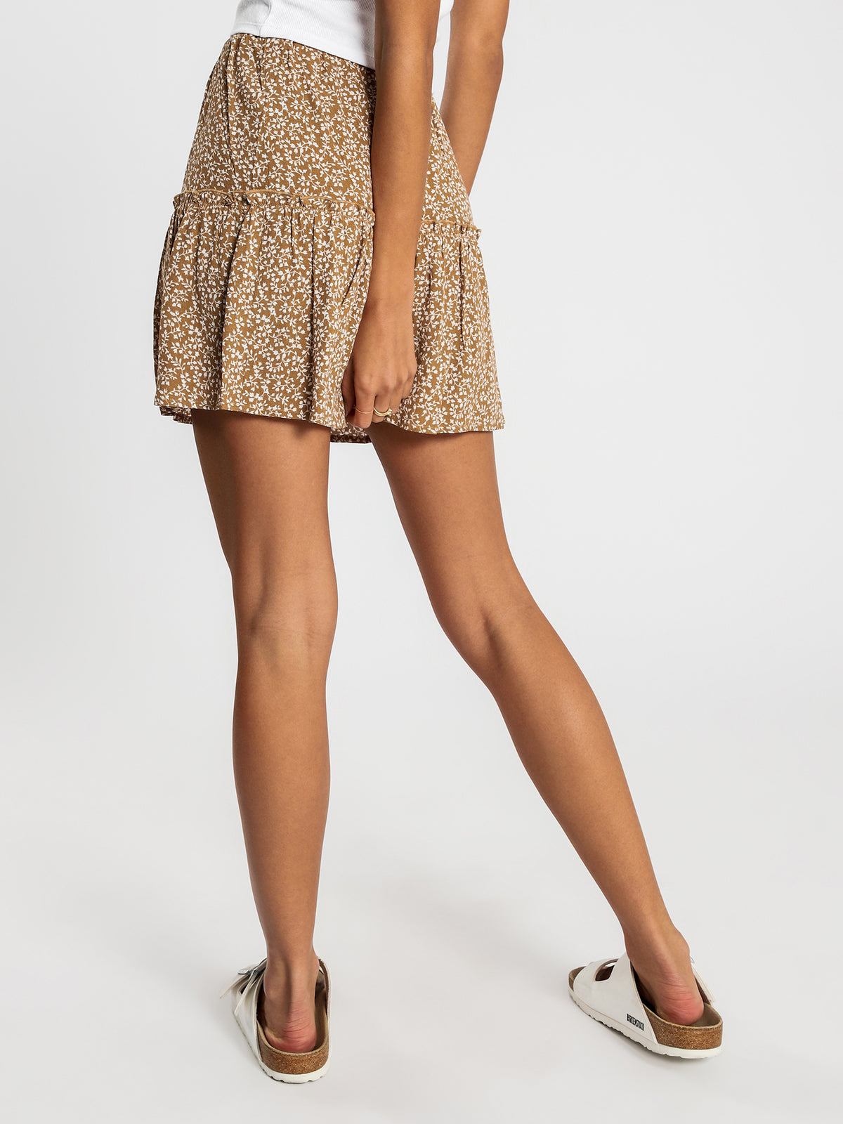 Ginne Skirt Dress in Tan Floral
