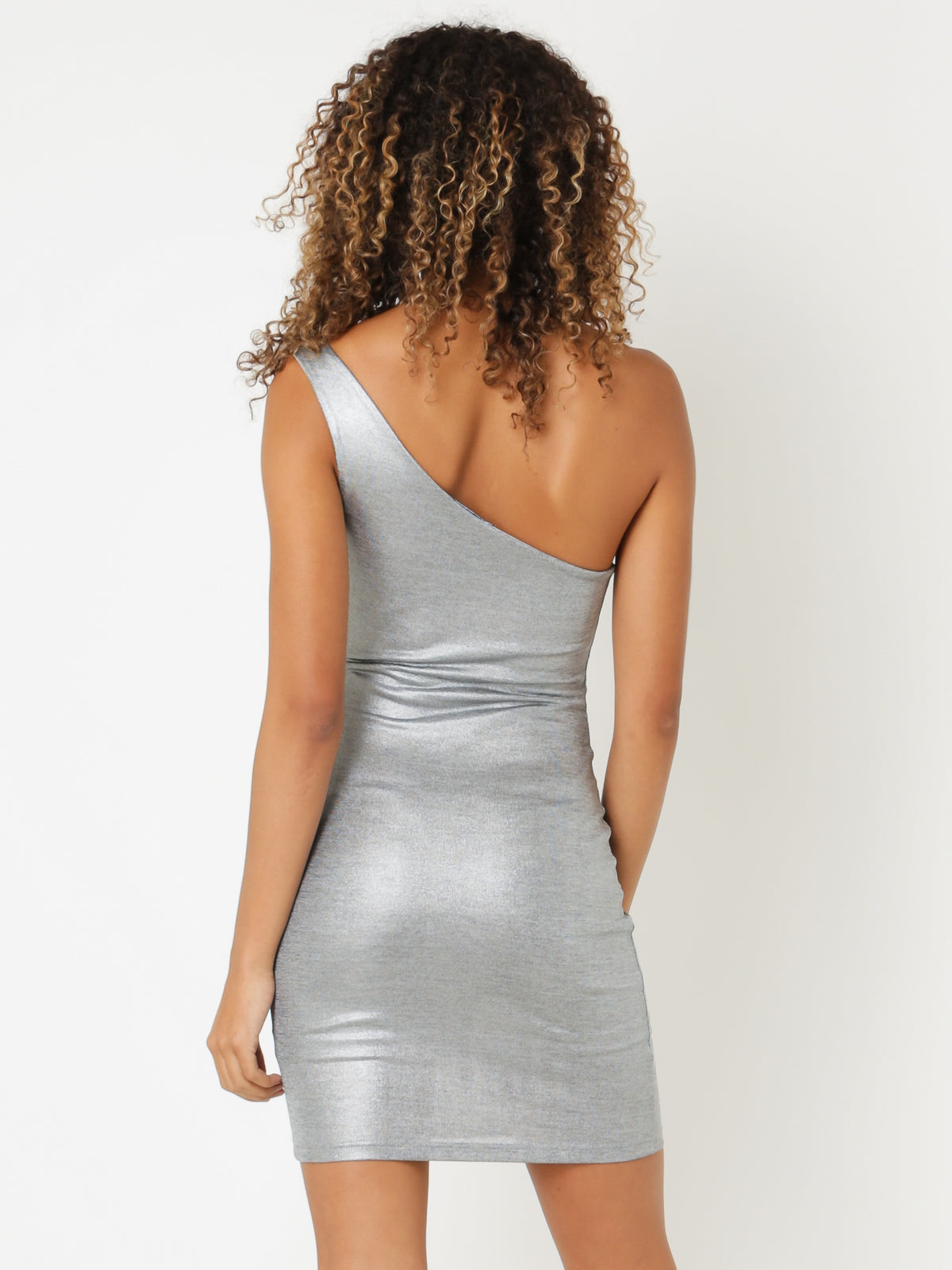 Shimmer One-Shoulder Mini Dress in Silver