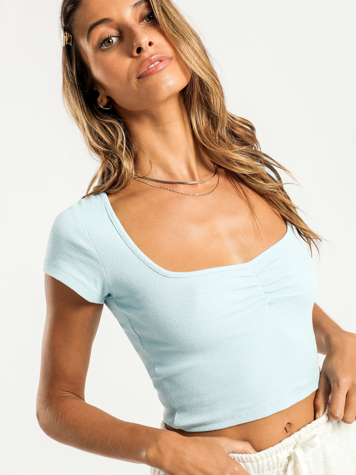 Newsha Rib T-Shirt in Blue