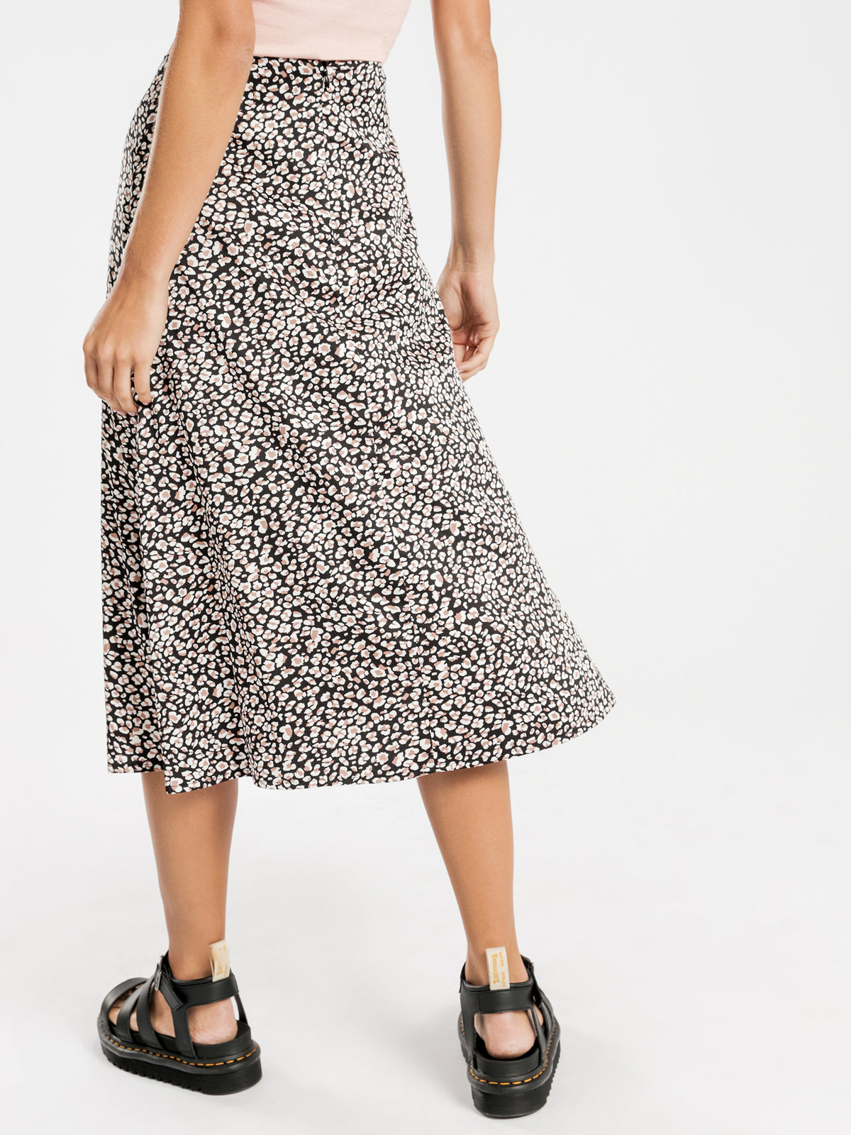 Haven Midi Skirt in Blush Leopard