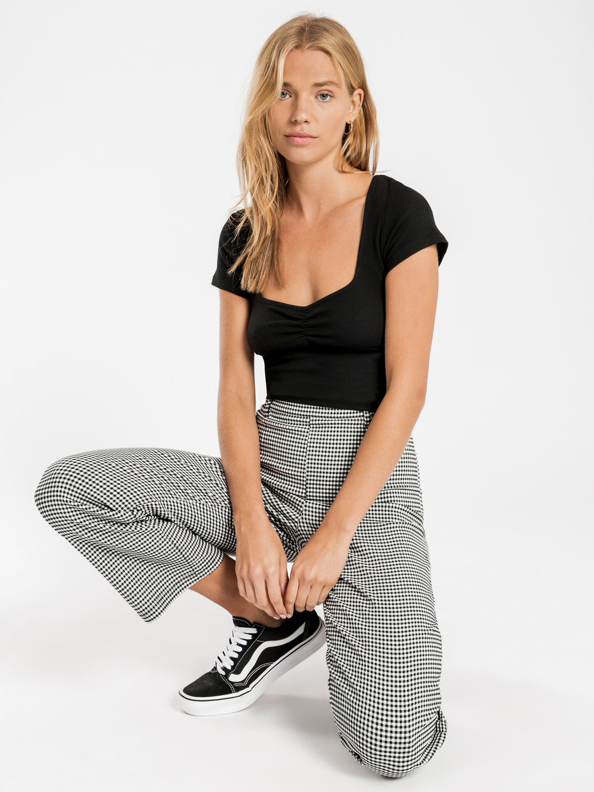 Jojo Stretch Pants in Black & White Check