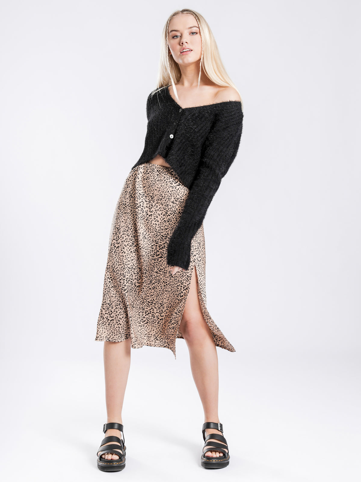 Daichi Midi Skirt in Leopard