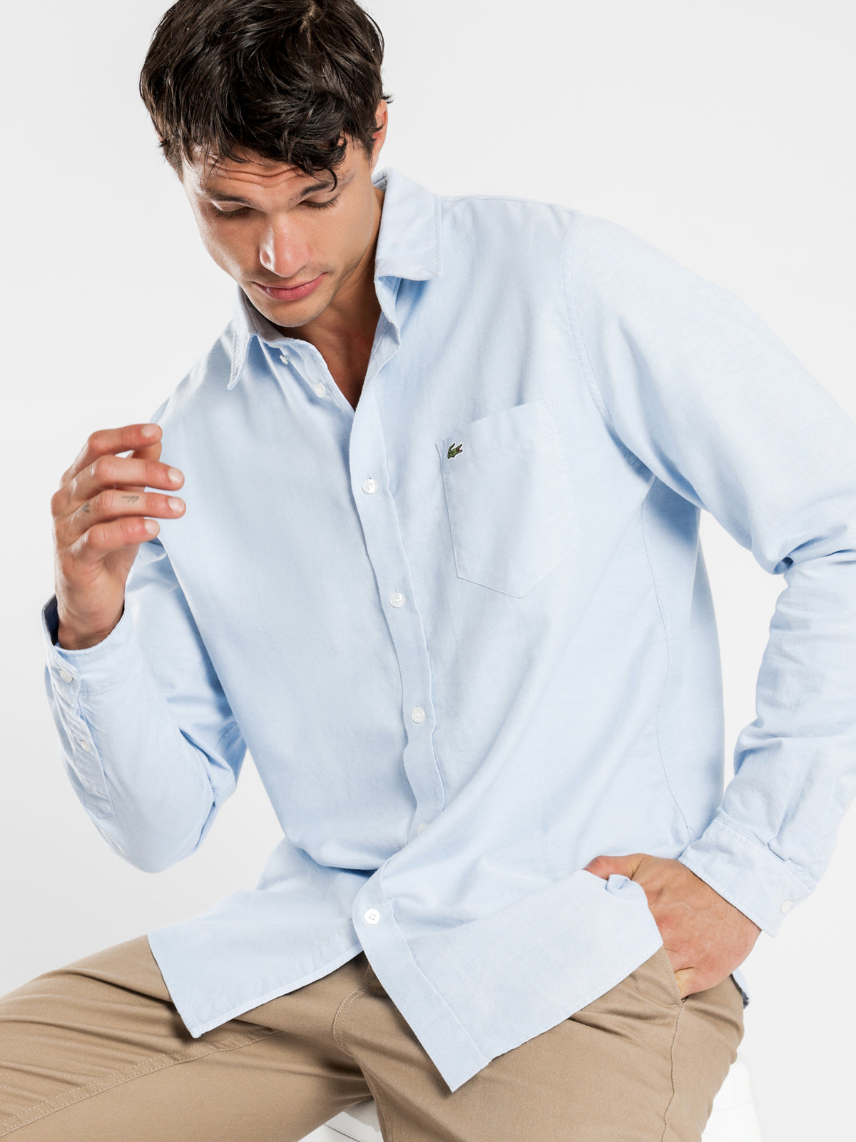 Long Sleeve Slim Stretch Oxford Shirt in Light Blue