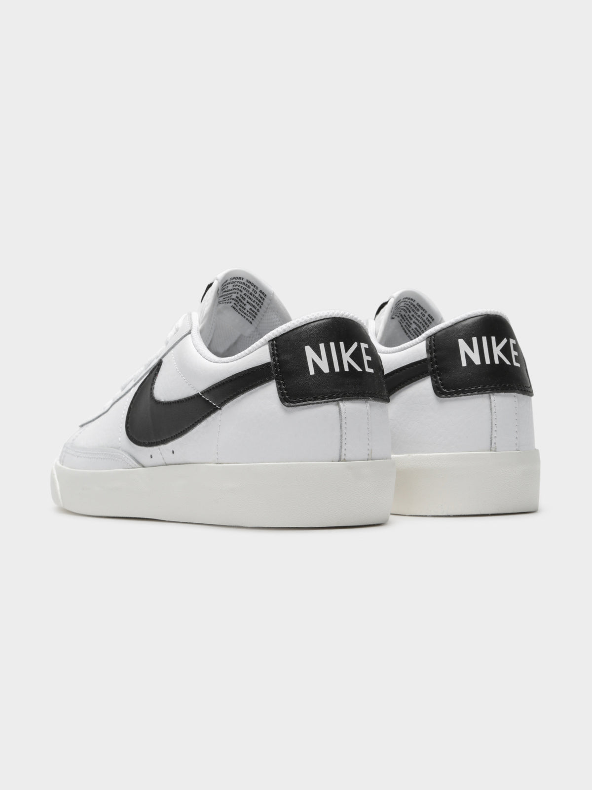 Mens Blazer Low Leather Sneaker in White & Black