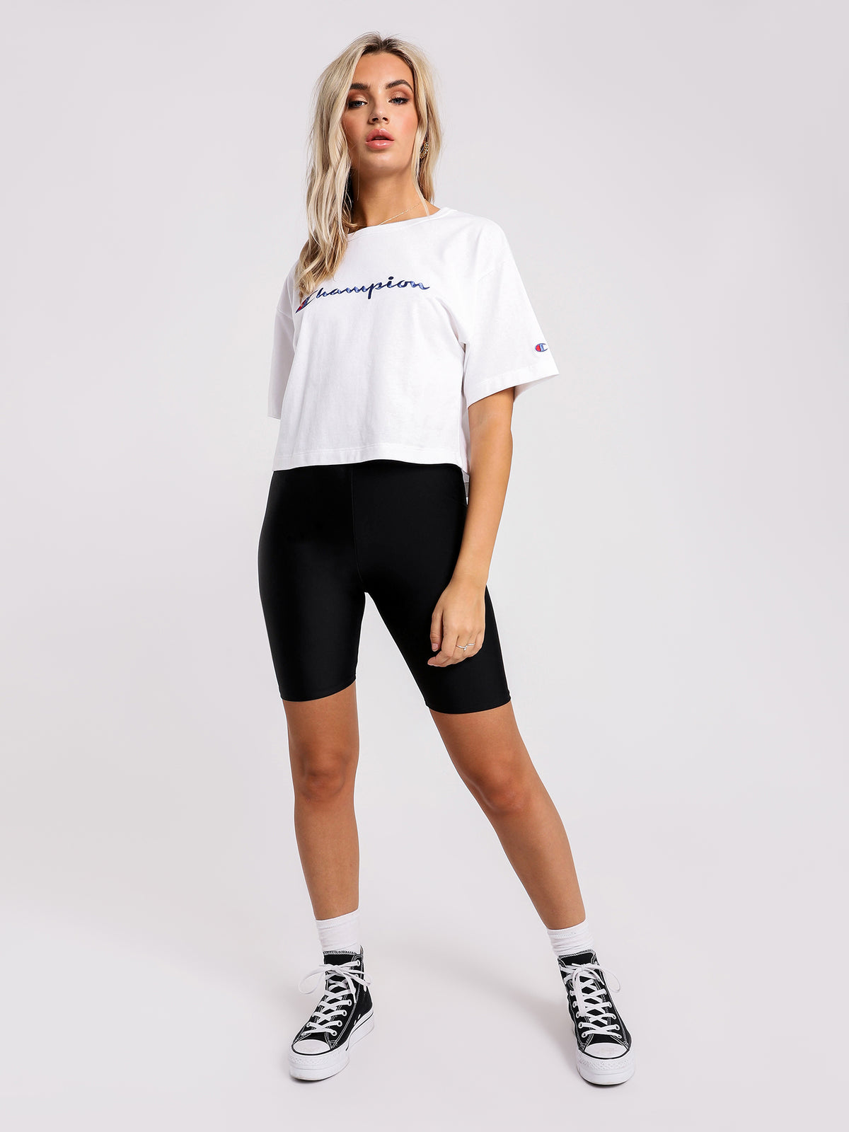 Heritage Large Script Crop T-Shirt in White