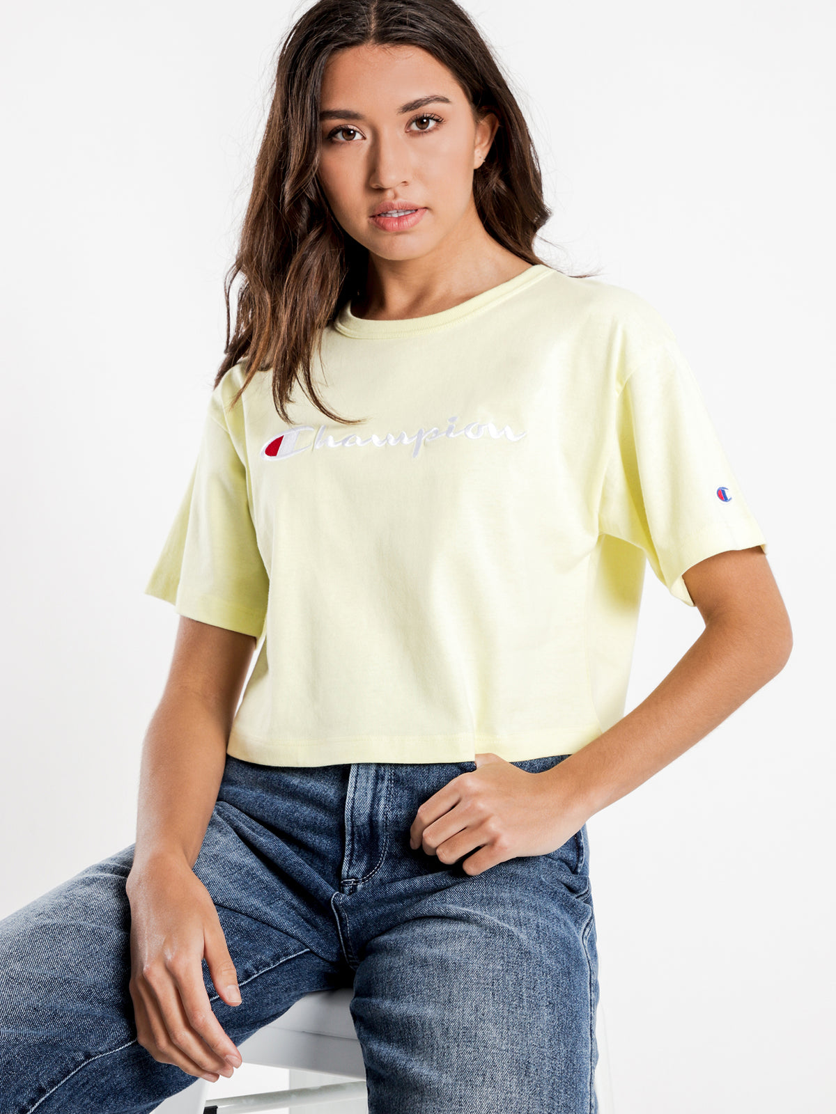 Cropped Script T-Shirt in Origami Yellow