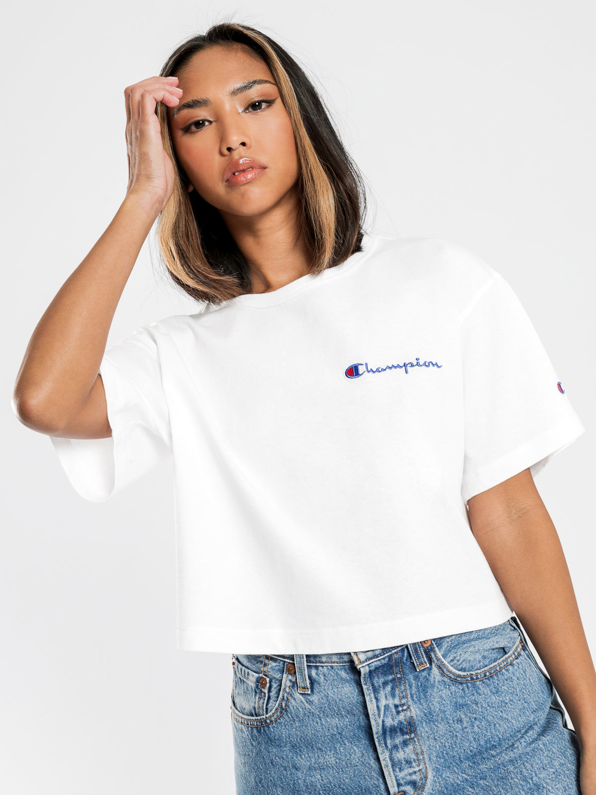 Heritage Cropped Mini Script Short Sleeve T-Shirt in White