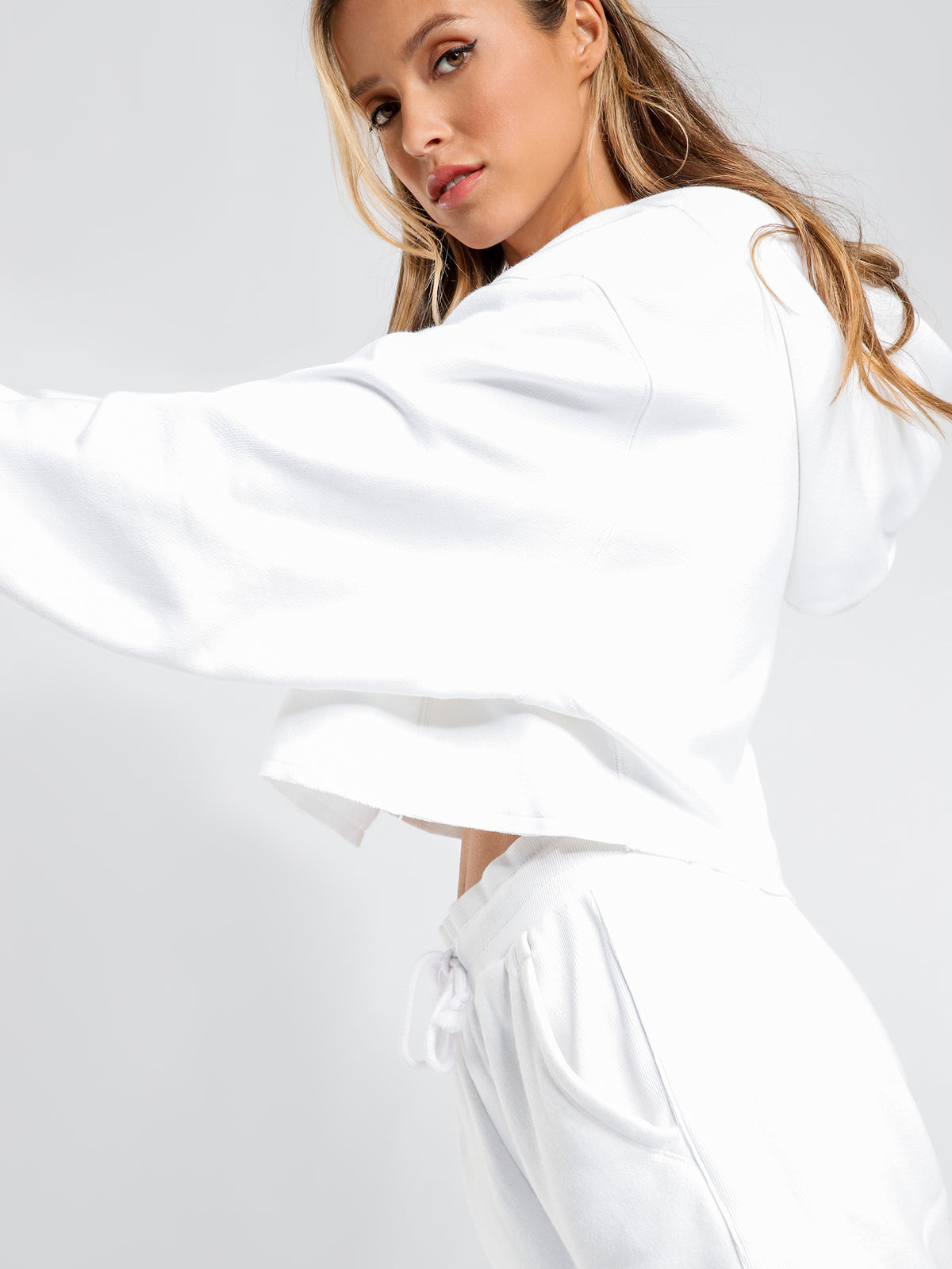 Reverse Weave Cropped Cut Off Hoodie in White