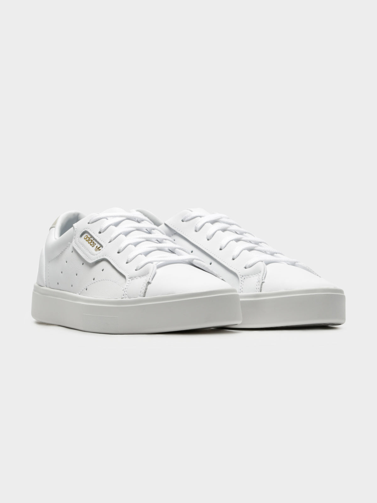 Womens Sleek Leather Sneakers in White