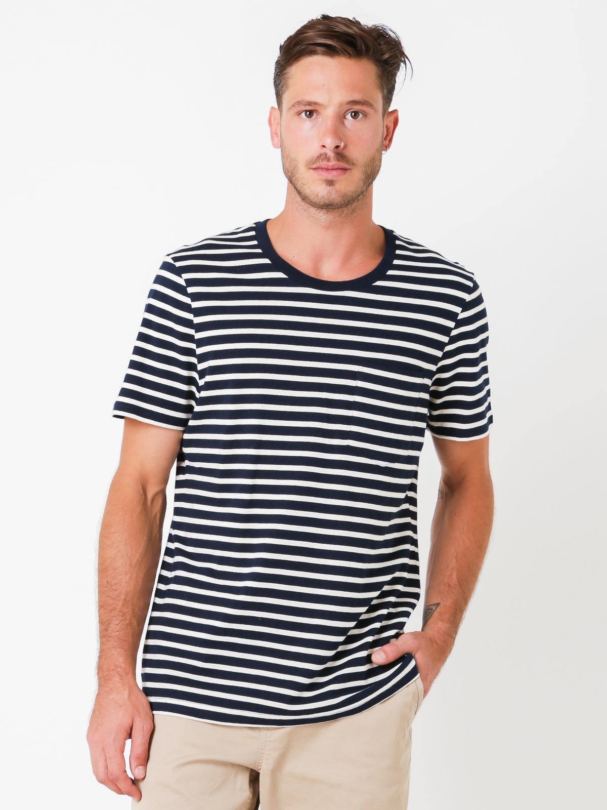 Stripe Pocket T-Shirt in Dark Navy
