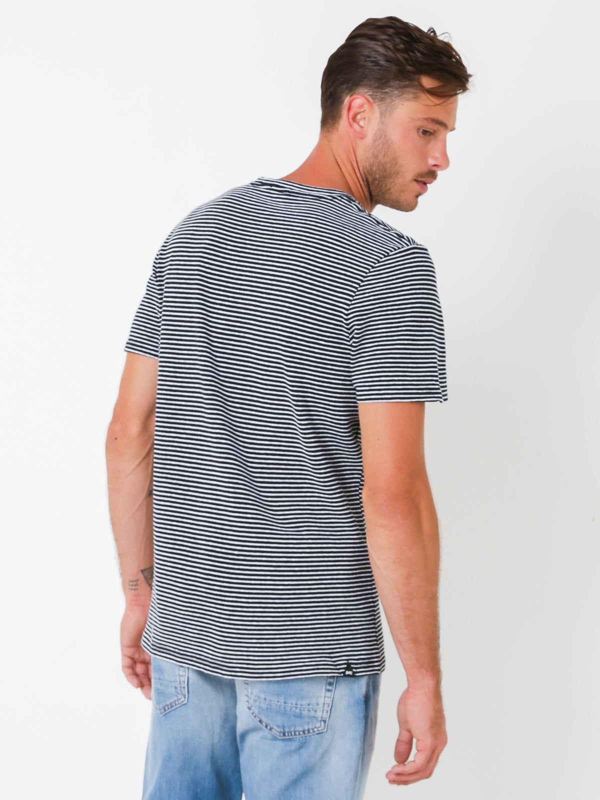 Denham Printed Stripe T-Shirt in Black