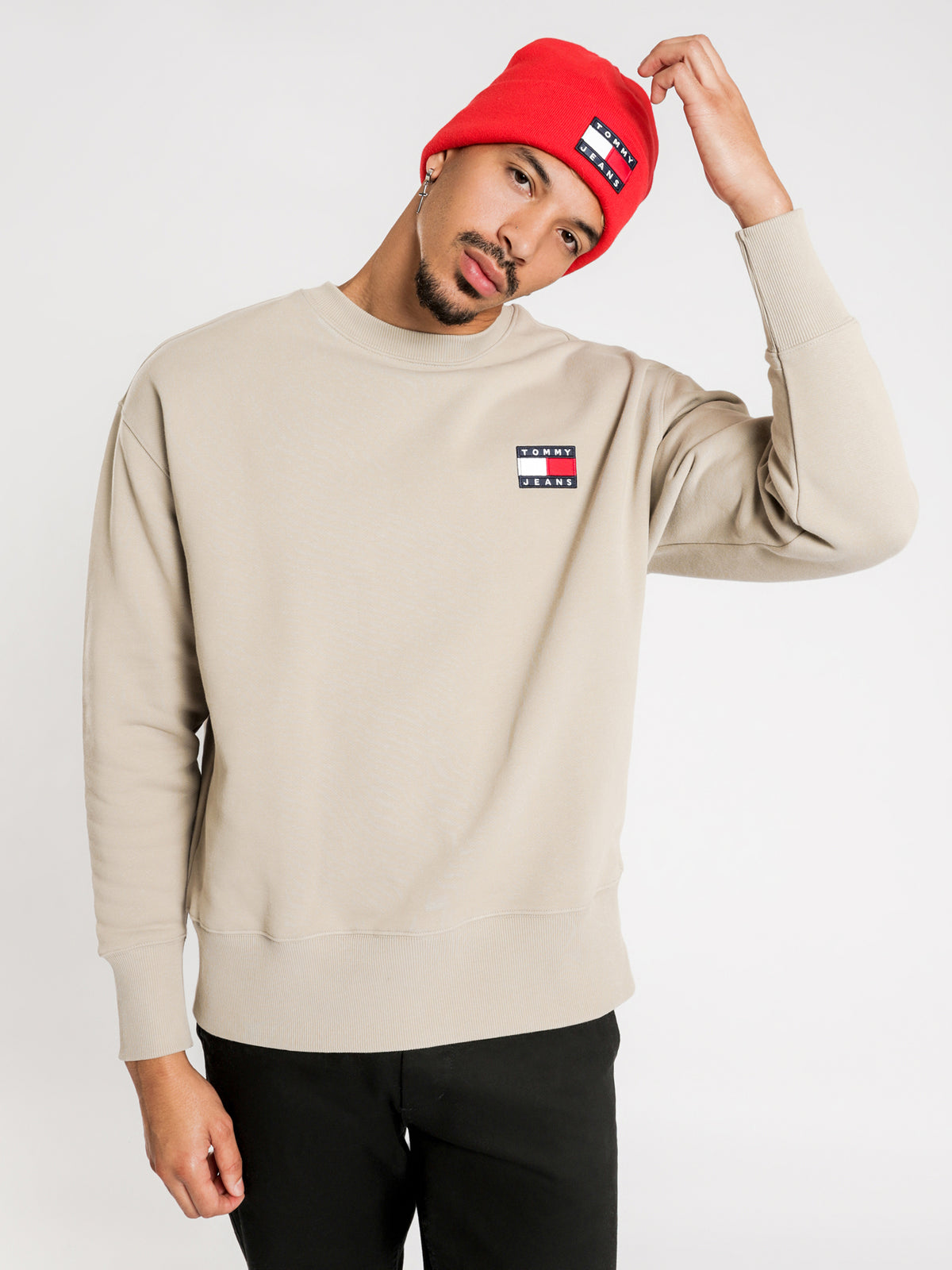 Tommy Badge Crew Jumper in Stone