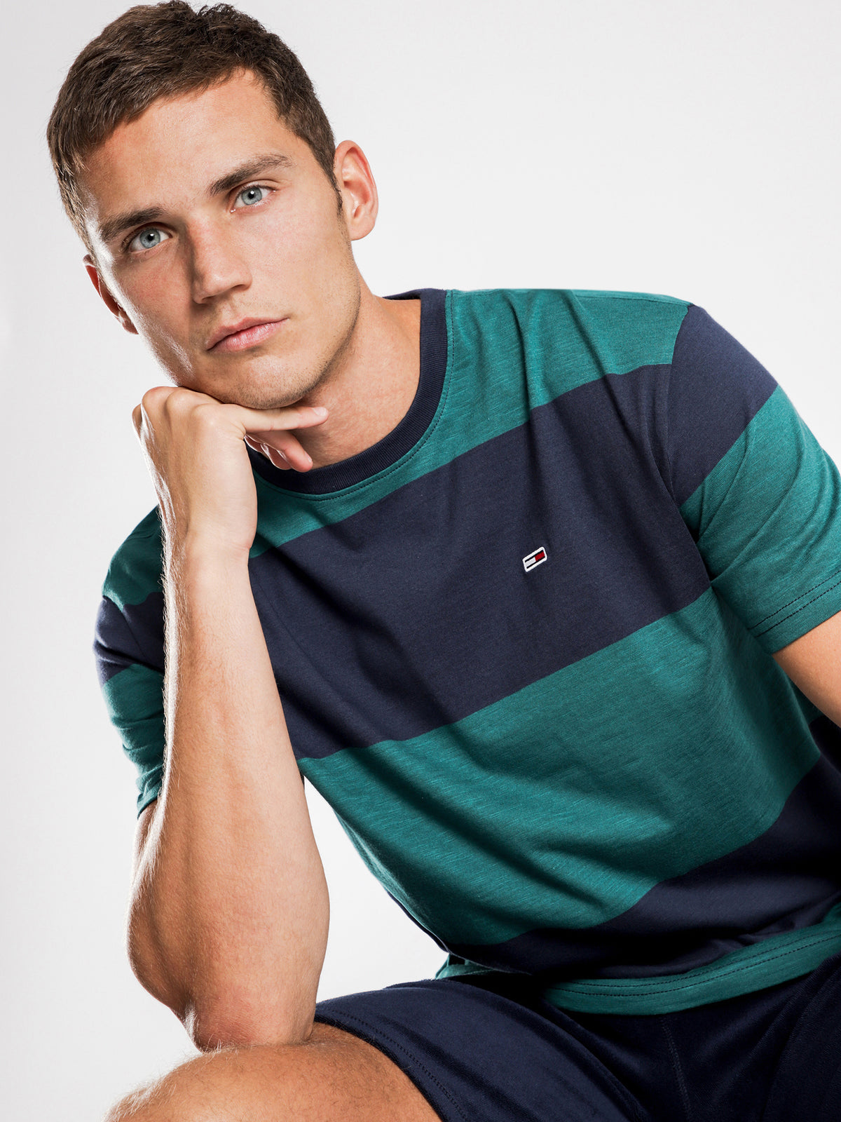 Bold Stripe T-Shirt in Blue & Green