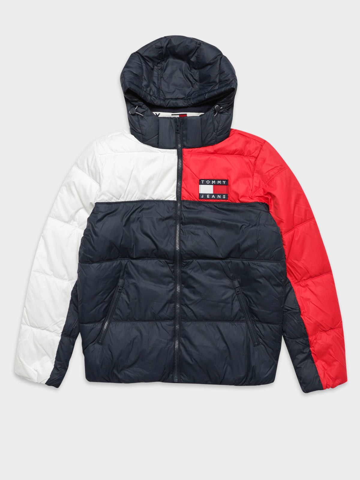 Essential Colour Block Puffer Jacket in Navy Red & White