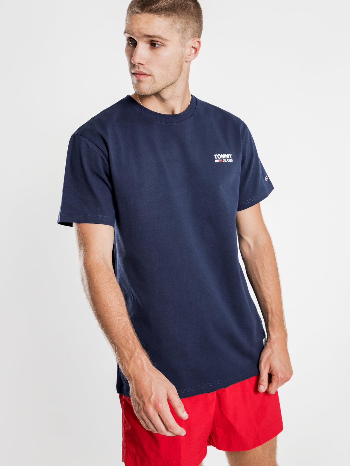 Chest Corp Logo T-Shirt in Navy