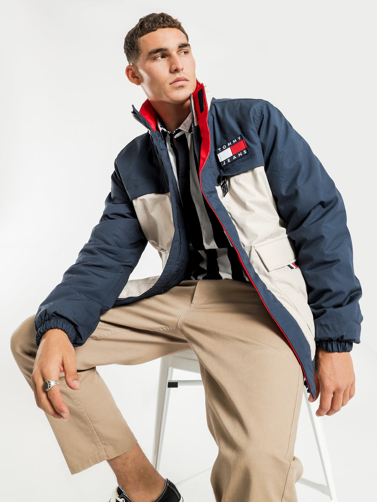 Colourblock Flag Jacket in Navy & Beige
