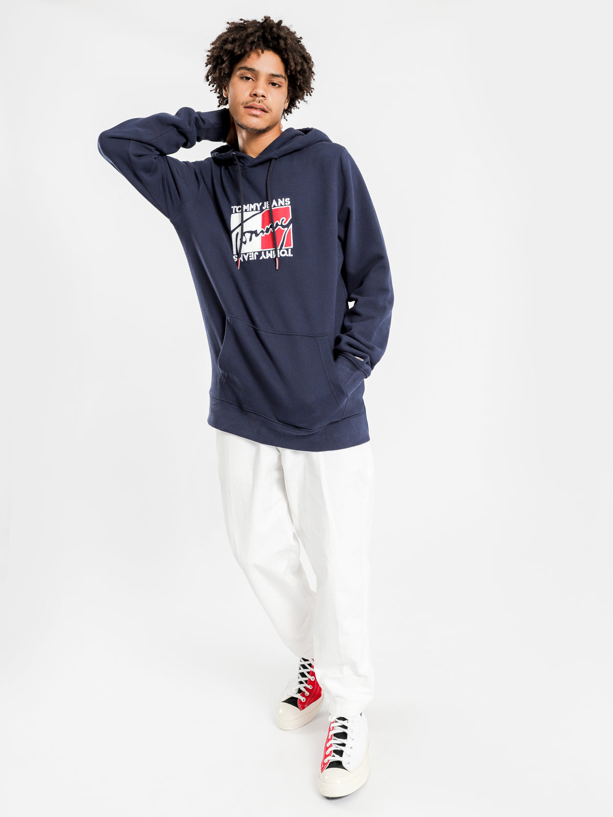 Essential Graphic Hoodie in Navy