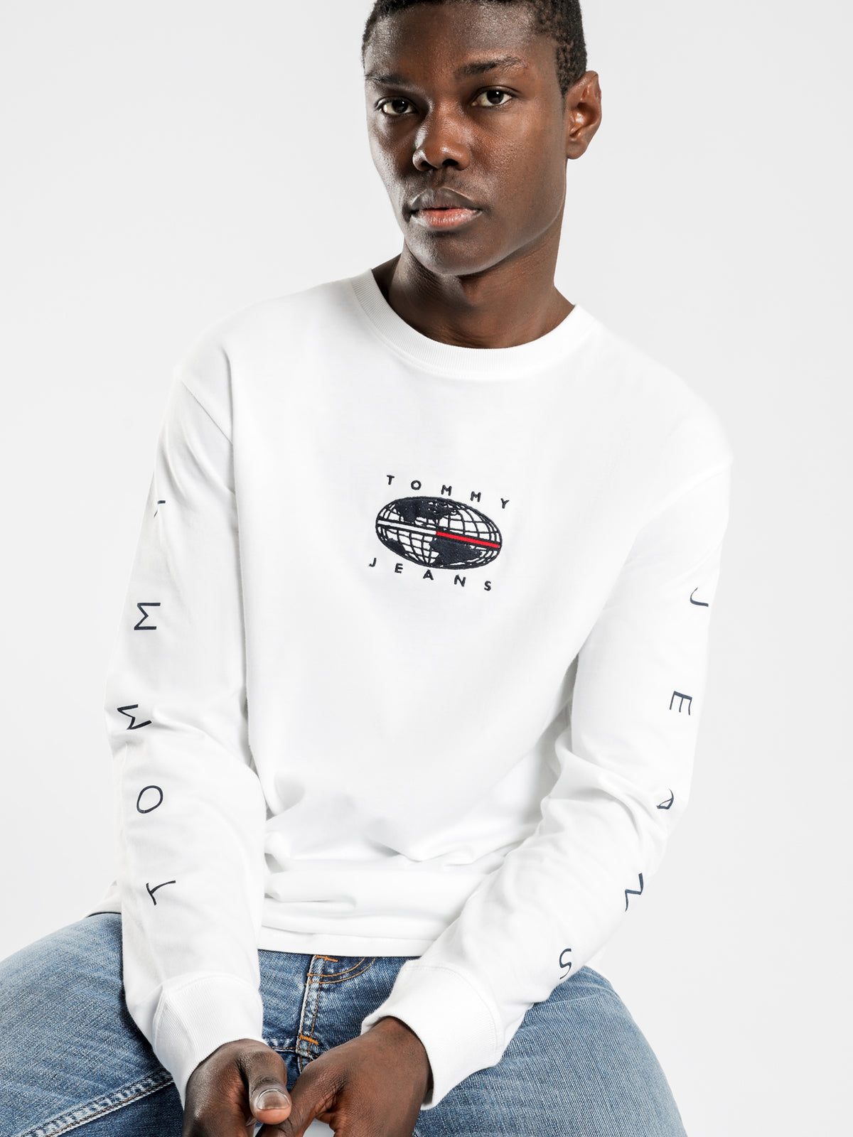 Long Sleeve Novel Logo T-Shirt in White