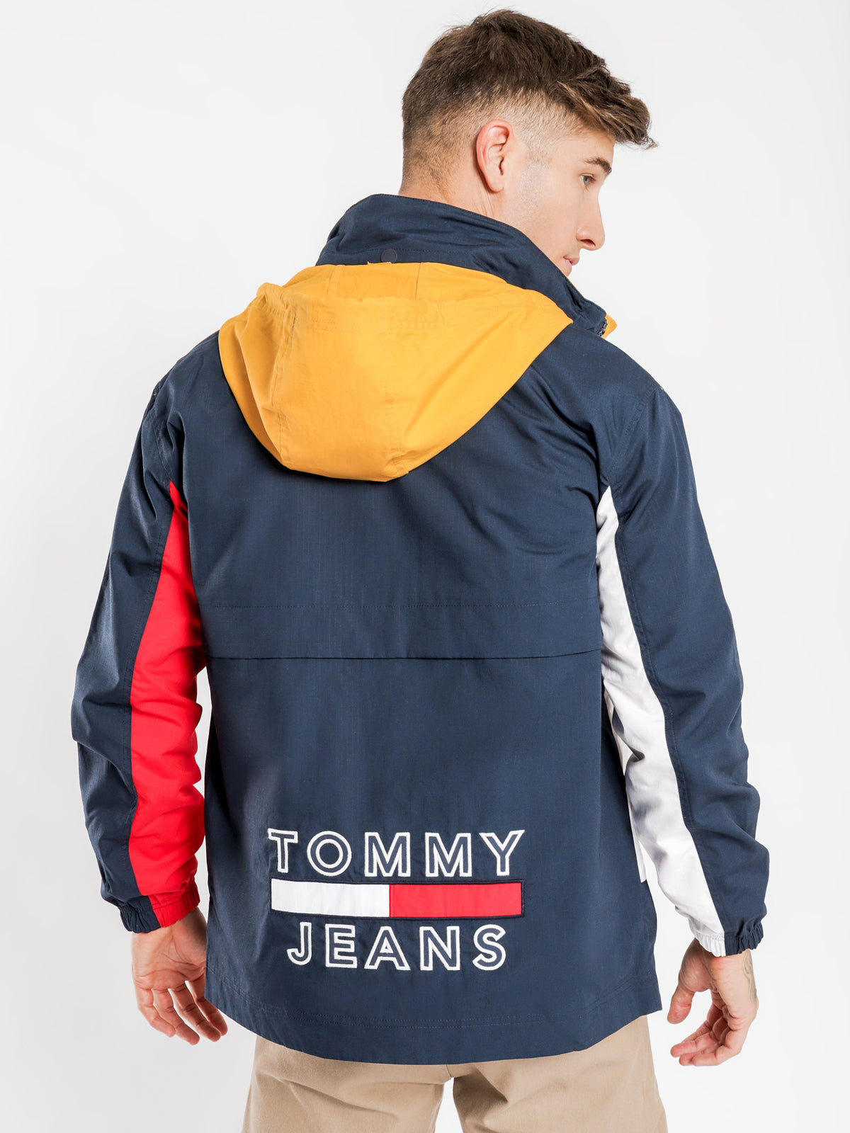 TJ US Reversible Hooded Jacket in Navy & Yellow