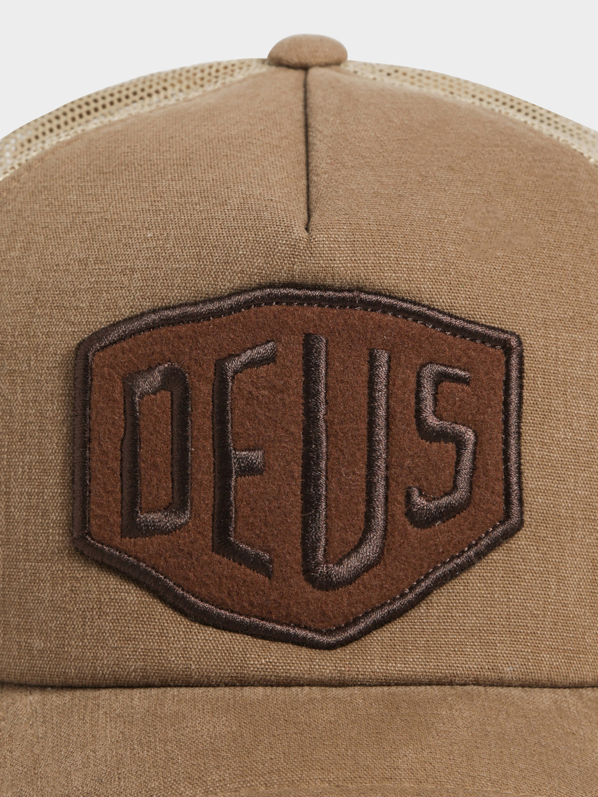 Fleece Shield Trucker Cap in Tan