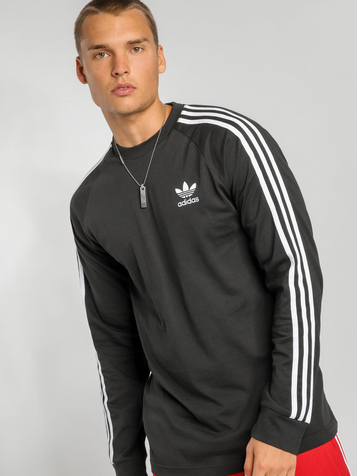 3 Stripes Long Sleeve T-Shirt in Black