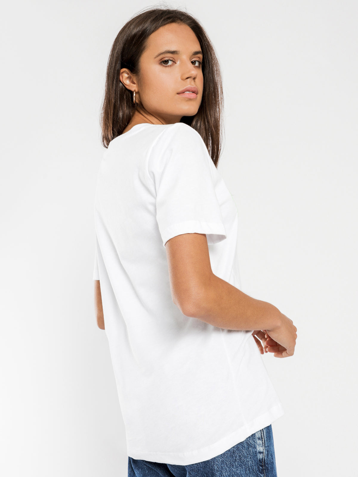 Neon Collegiate T-Shirt in Classic White