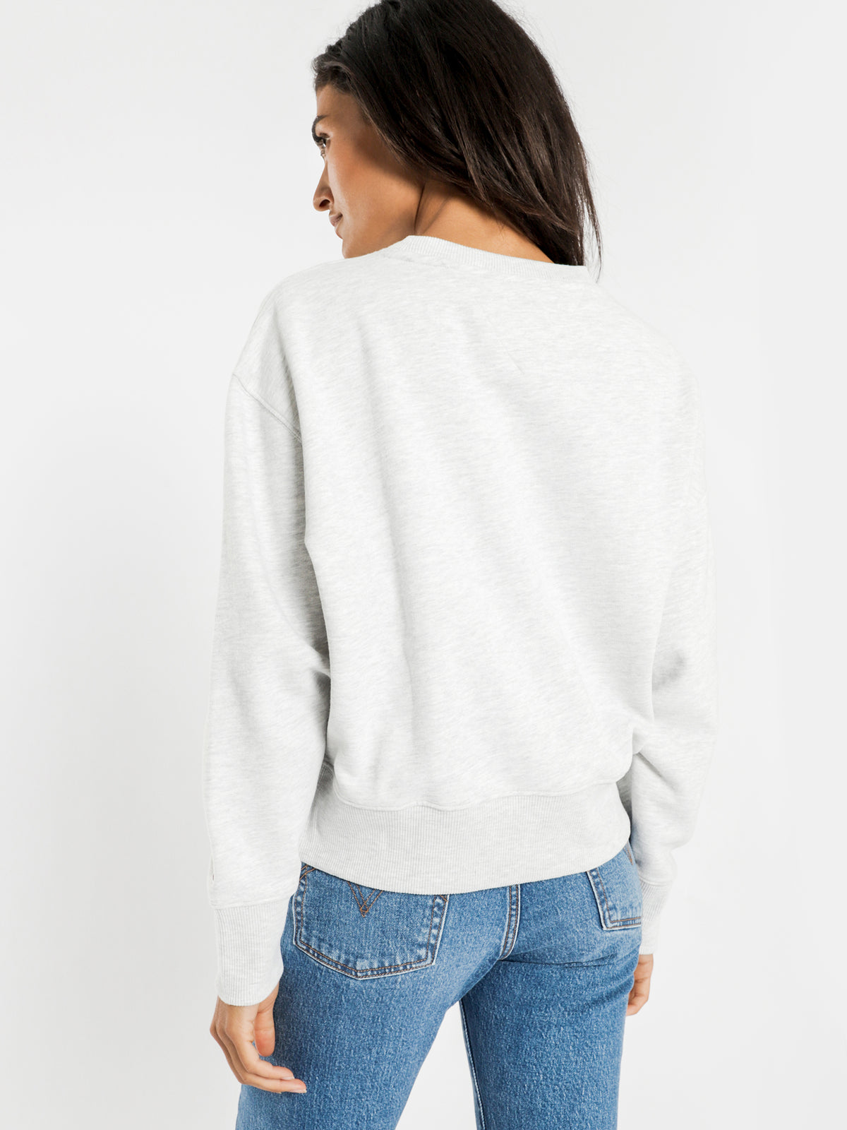 Tommy Heart Logo Crop Sweatshirt in Grey Heather