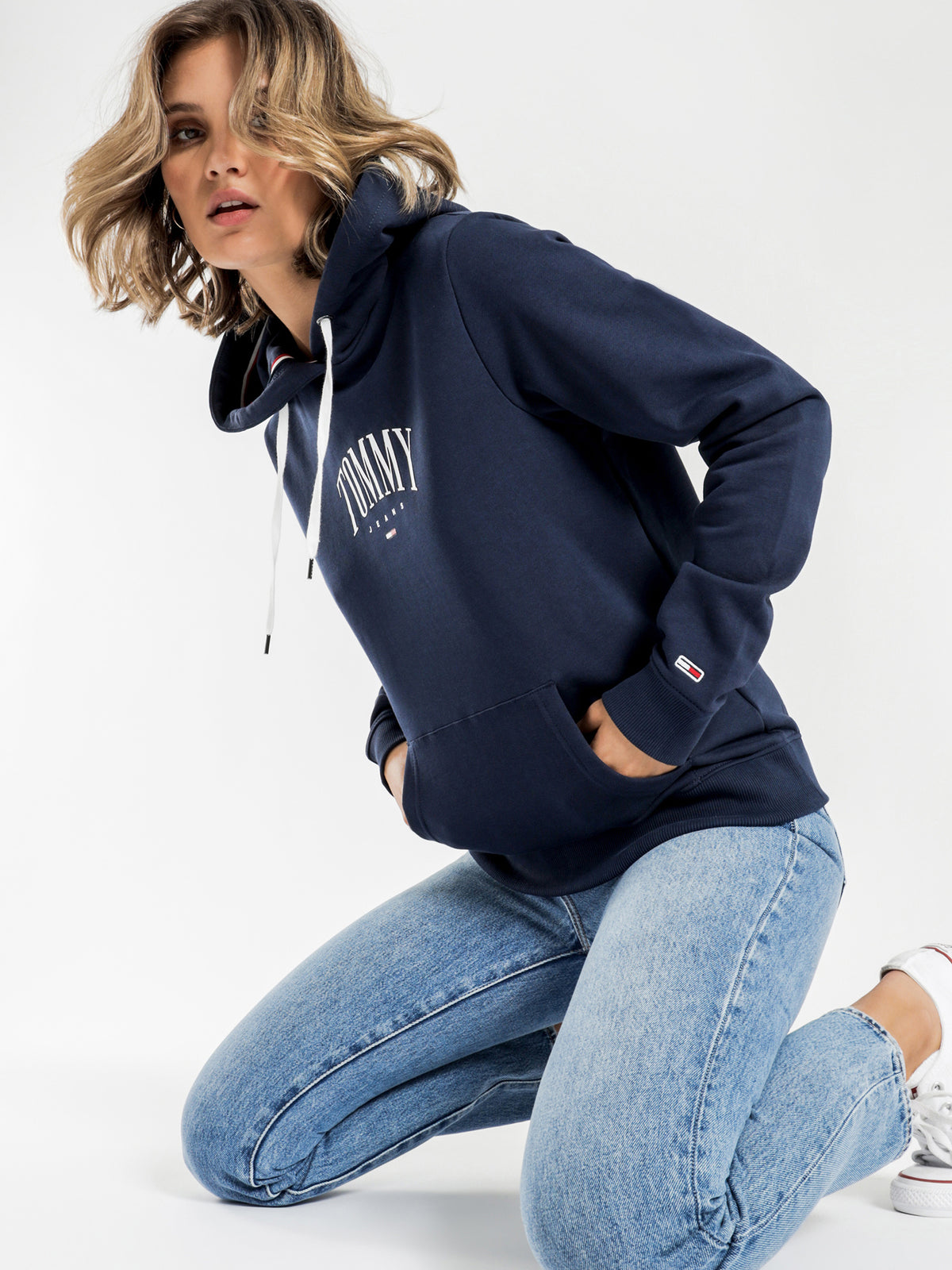 Essential Logo Hoodie in Twilight Navy