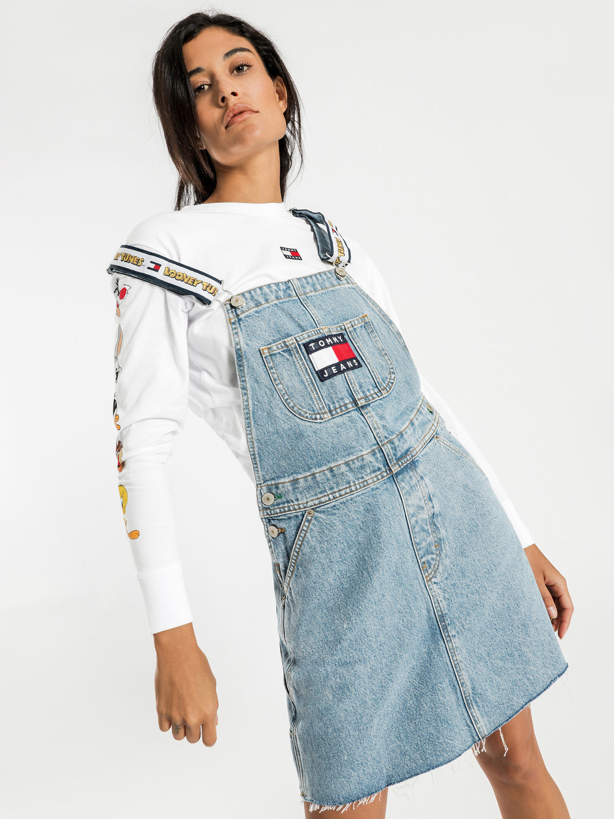 Tommy Jeans X Looney Tunes Overall Dress in Light Blue Denim