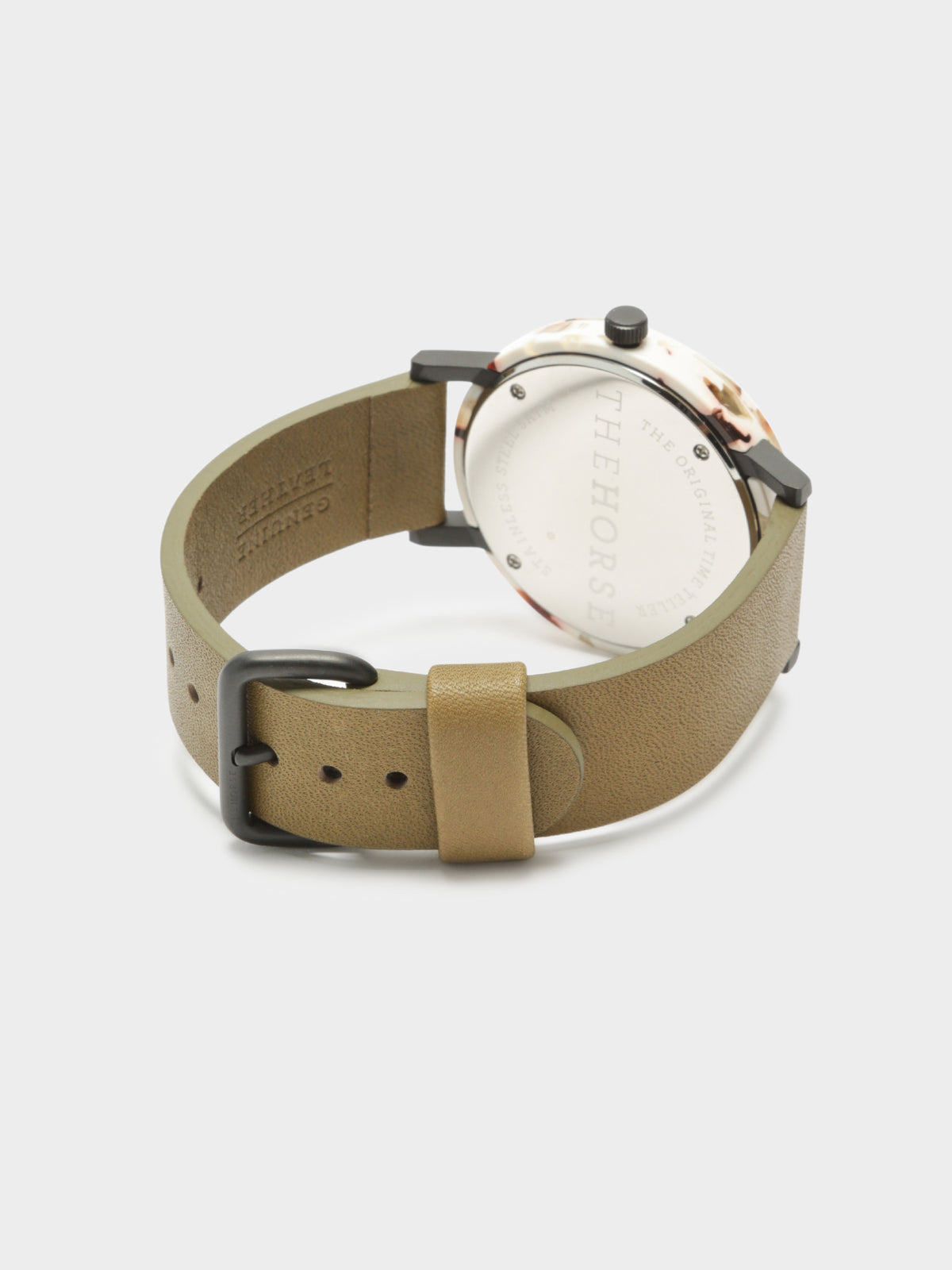 The Resin Watch in Nougat Shell & Olive Leather Strap