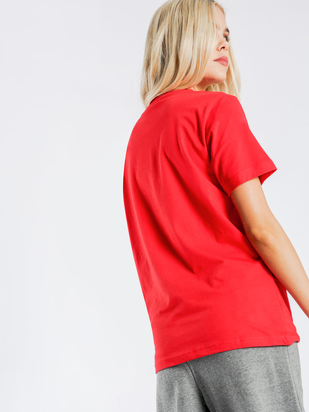 Emma Crew Short Sleeve Printed Logo T-Shirt in Red