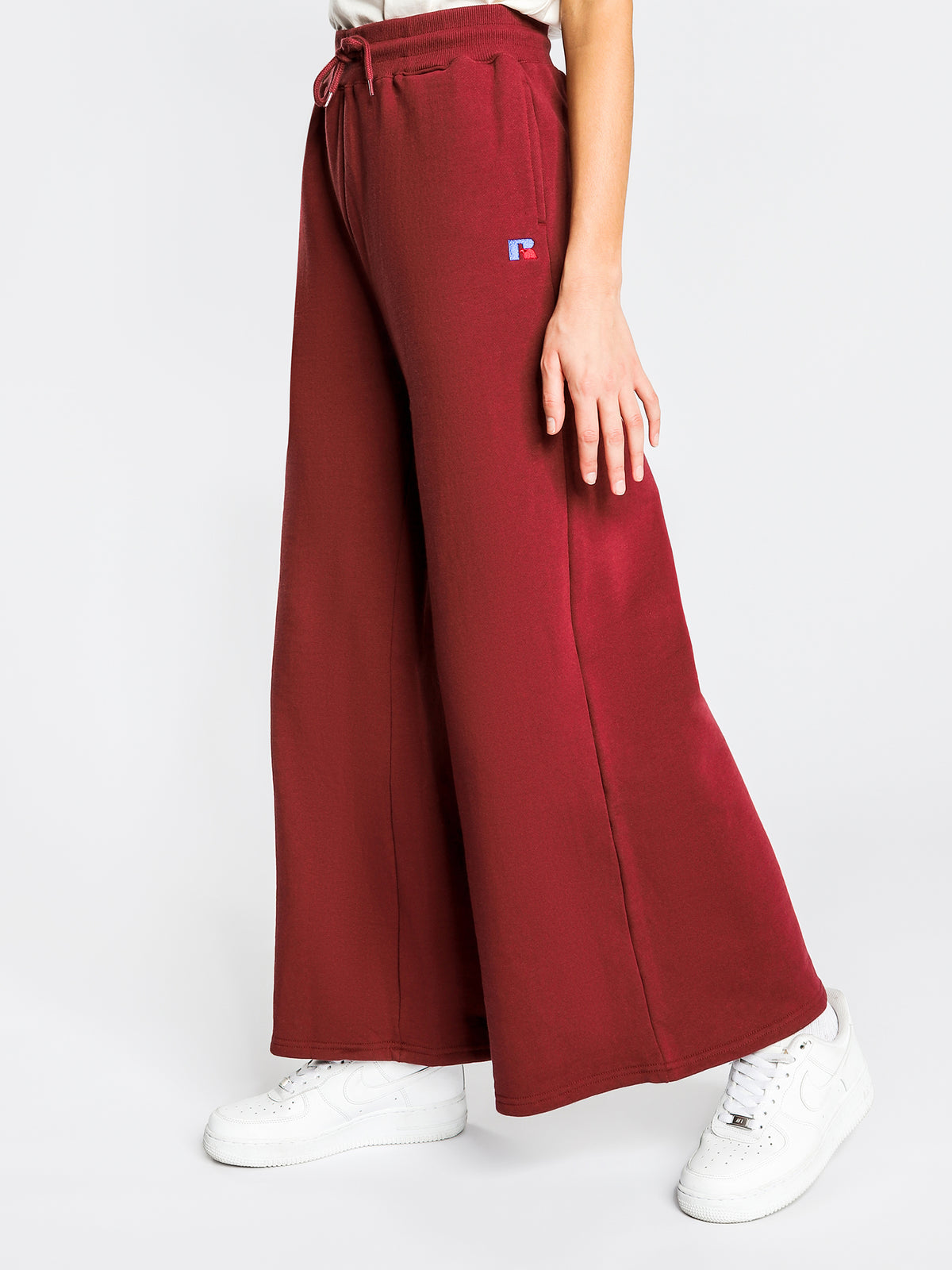 Evelyn Wide Track Pants in Burgundy