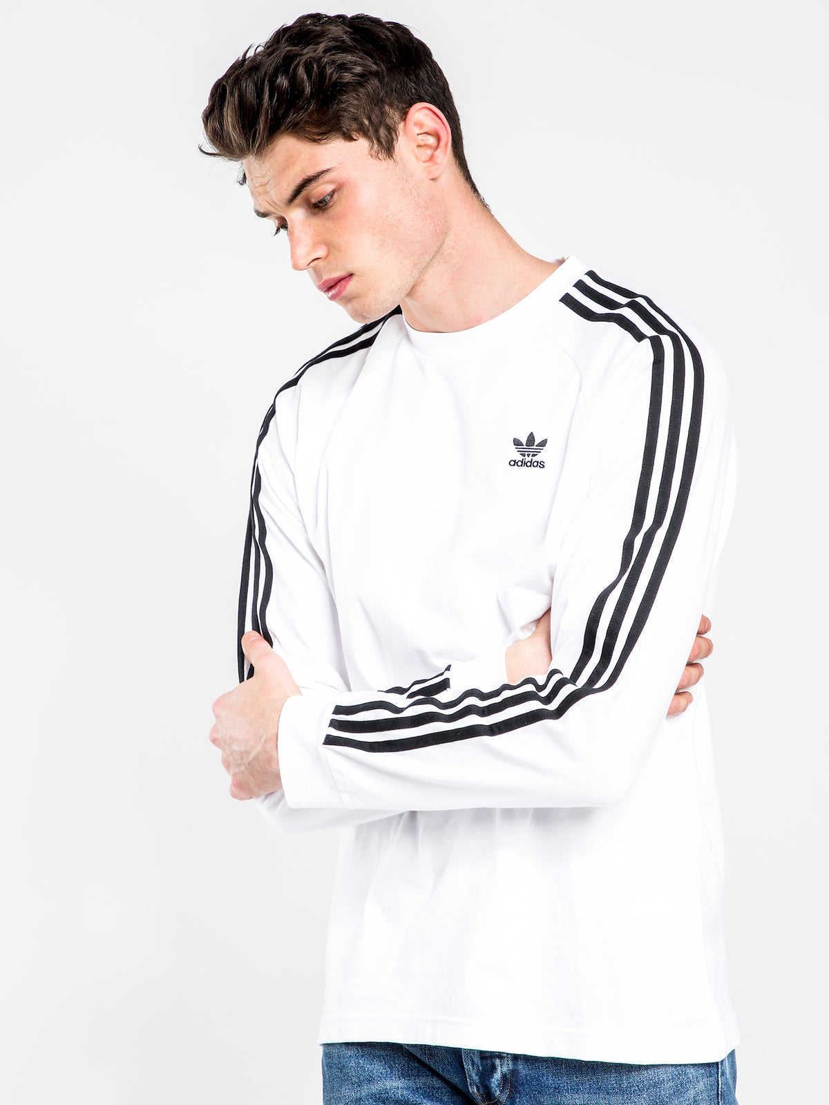 3 Stripes Long Sleeve T-Shirt in White & Black