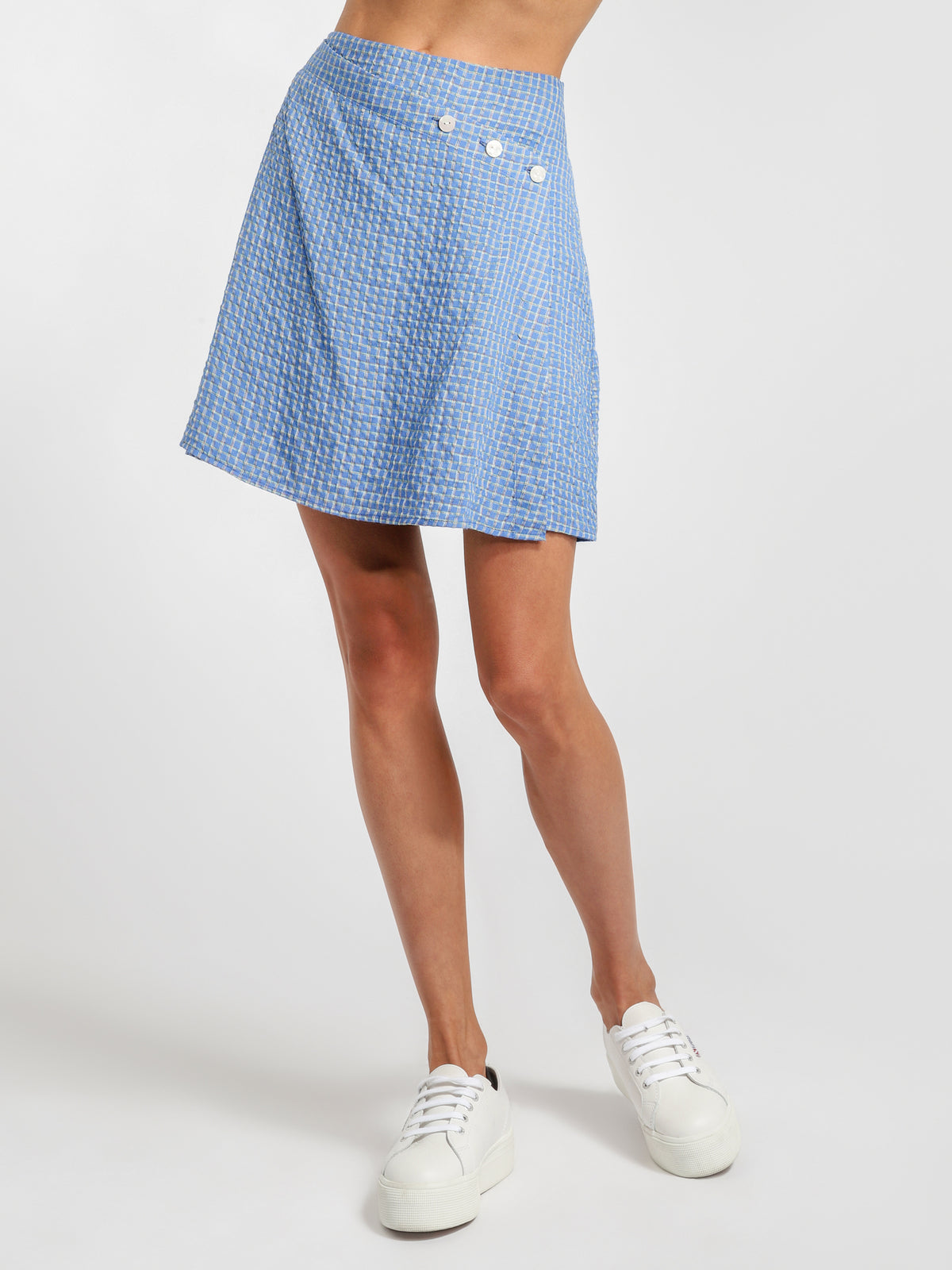Mahlia Wrap Skirt in Cobalt Blue Check