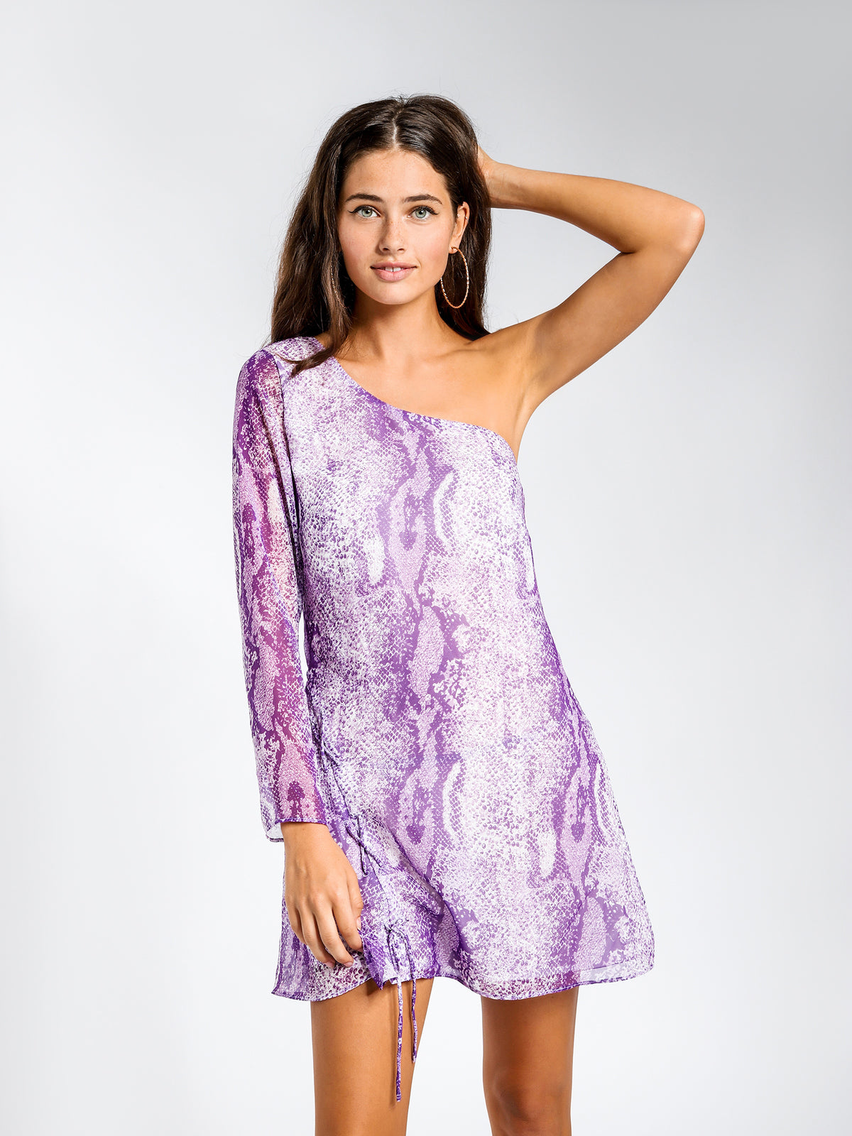 Edi One-Shoulder Mini Dress in Purple Poison Snake Print